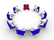 homme 3D s'asseyant à une table ronde et ayant la réunion d'affaires Images stock