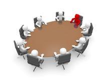 homme 3D s'asseyant à une table ronde et ayant la réunion d'affaires Photo stock