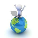 homme 3d s'asseyant sur la carte bleue de globe et à l'aide de l'ordinateur portable Photographie stock