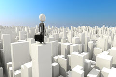 homme 3d se tenant sur le dessus de toit du gratte-ciel Images libres de droits