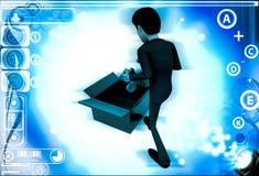 homme 3d sortant le puzzle bleu de l'illustration de boîte Photographie stock