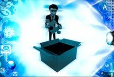 homme 3d sortant le puzzle bleu de l'illustration de boîte Photo libre de droits