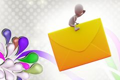 homme 3d sur l'illustration d'icône de courrier Photographie stock