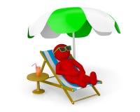 homme 3D sur la plage de Th Photos stock