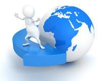 homme 3d surfant sur la flèche bleue autour du globe de la terre Image stock