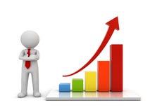 homme 3d tenant et présent le graphique de gestion de croissance avec le concept en hausse rouge de flèche Photo libre de droits