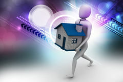 homme 3d tenant la maison Image libre de droits