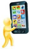 Homme d'or tenant le téléphone portable Images stock