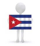 homme 3d tenant un drapeau cubain illustration de vecteur