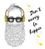 Homme dans des écouteurs Hippie peint à la main Illustration de vecteur illustration stock