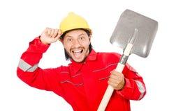 Homme dans des combinaisons rouges Image libre de droits