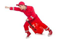 Homme dans des combinaisons rouges Photo libre de droits