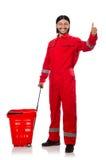 Homme dans des combinaisons rouges Photos stock