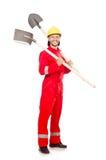Homme dans des combinaisons rouges Images stock