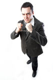 Homme dans des menottes Image stock