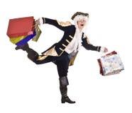 Homme dans l'achat avec le vieux costume et perruque. Image stock