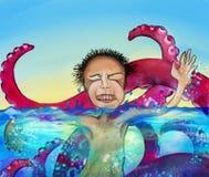 Homme dans l'eau avec le monstre Image libre de droits