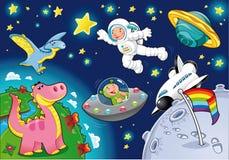 Homme dans l'espace. Image stock