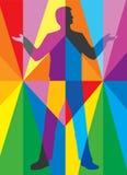 Homme dans l'espace abstrait multicolore Images stock
