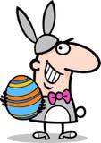 Homme dans la bande dessinée de costume de lapin de Pâques Photographie stock libre de droits