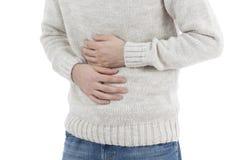 Homme dans la douleur abdominale Photo stock