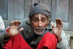 Homme dans la pauvreté, Népal Images stock