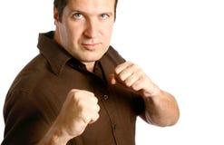 Homme dans la position de boxe Photos libres de droits