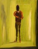 Homme dans la salle verte image stock