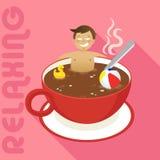 Homme dans la tasse rouge de café chaud Photo stock