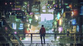 Homme dans la ville de Cyberpunk illustration libre de droits