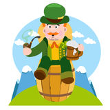 Homme dans le bar irlandais Jour de St Patrick s Photos stock