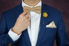 Homme dans le bowtie bleu de costume, broche, mouchoir Image stock