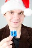 Homme dans le chapeau de Santa Images stock