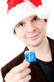 Homme dans le chapeau de Santa Photos libres de droits