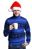 Homme dans le chapeau de Santa avec la cuvette Photos libres de droits