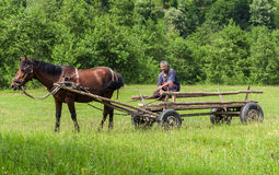 Homme dans le chariot en bois Images libres de droits