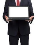 Homme dans le costume avec l'ordinateur portable Image libre de droits
