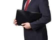 Homme dans le costume avec l'ordinateur portable Photos libres de droits