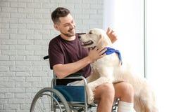 Homme dans le fauteuil roulant avec le chien de service Images libres de droits