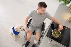 Homme dans le fauteuil roulant faisant cuire avec le chien de service par son côté Photos stock