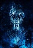 Homme dans le feu mystique et les dragons ornementaux, croquis de crayon sur le papier, effet bleu de vinter Photographie stock libre de droits