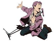 Homme dans le karaoke Chanteur inspiré avec le microphone barre illustration stock