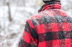 Homme dans le manteau de plaid dans la neige Photos stock