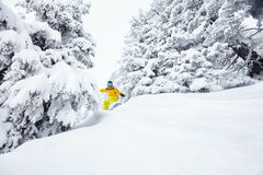 Homme dans le snowboarding backcountry Image stock