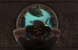 Homme dans le sous-marin Photo libre de droits