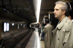 Homme dans le souterrain Photo stock