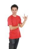 Homme dans le T-shirt avec le signe de main je t'aime Images libres de droits