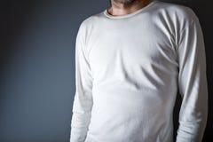Homme dans le T-shirt blanc vide Image libre de droits