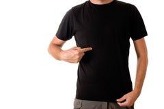 Homme dans le T-shirt noir vide Photos stock