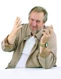Homme dans les années 50 avec faire des gestes de main Image stock